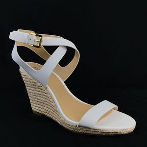 Michael Kors White Leather Espadrille Wedge Sandal